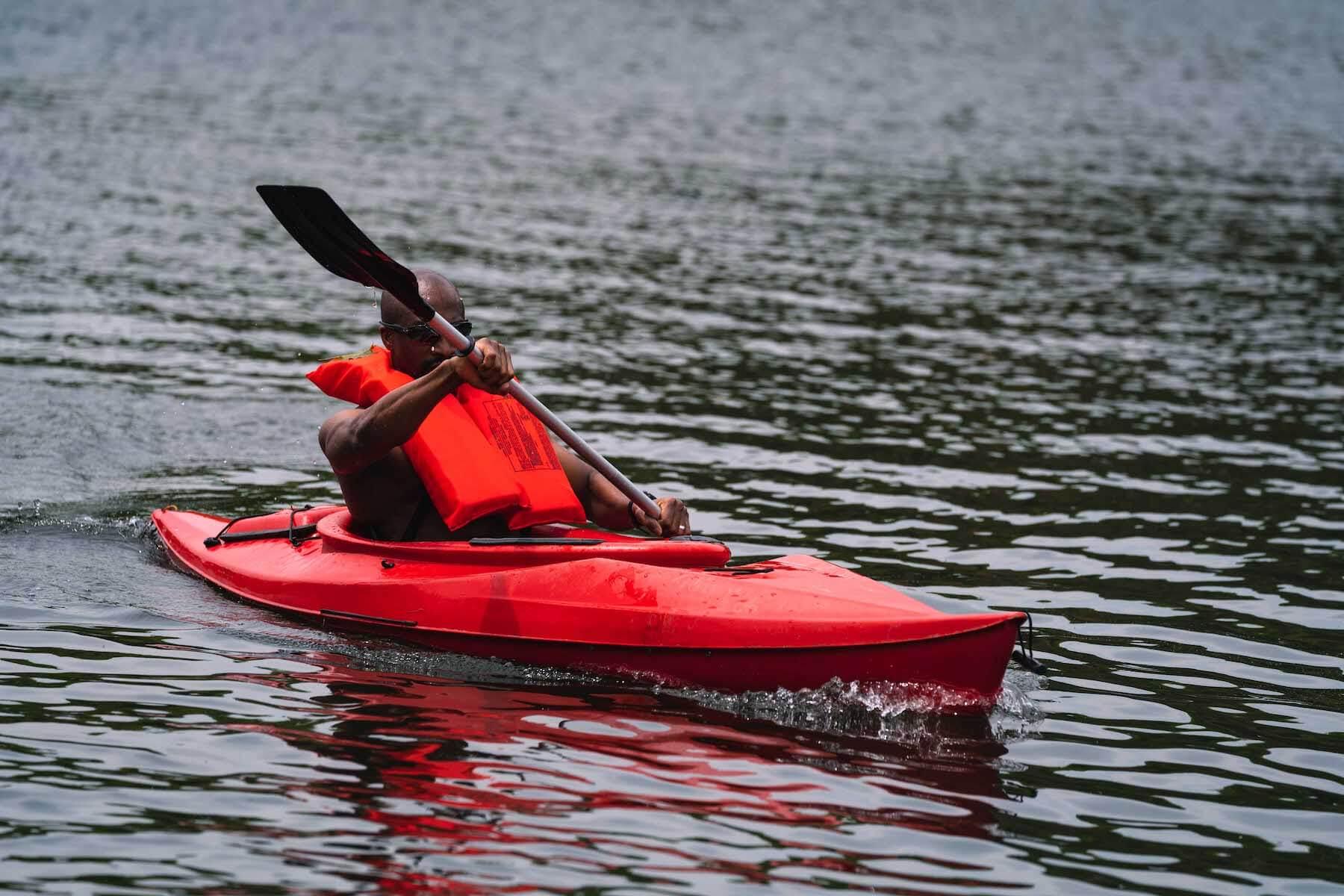 Man kayaking on Lake Laura